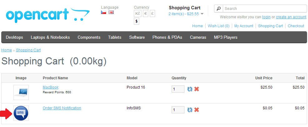 Displaying SMS opt-out feature in the shopping basket