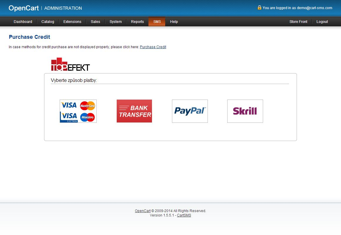 Purchase credit via PayPal directly from the module
